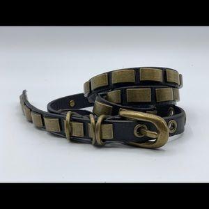 Monserat de Lucca Anthro Brown Stud Leather Belt